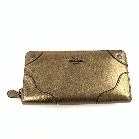 Coach Handbags - Coach Womens Wallet Zip Around Leather Bronze